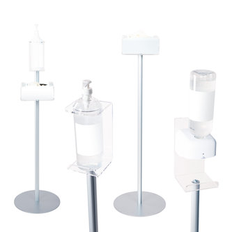 FLOOR STANDS WITH HAND SANITIZER DISPENSER HOLDERS