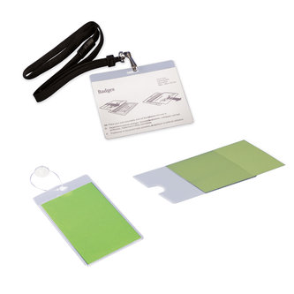 NAME BADGE HOLDERS, ADHESIVE CLEAR POCKETS AND PVC POCKETS