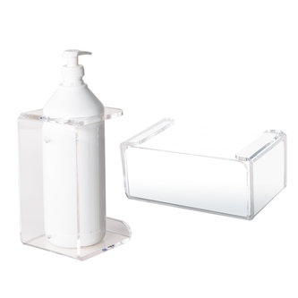CLEAR WALL MOUNTED HOLDERS FOR HAND SANITIZER DISPENSER AND DISPOSABLE GLOVES
