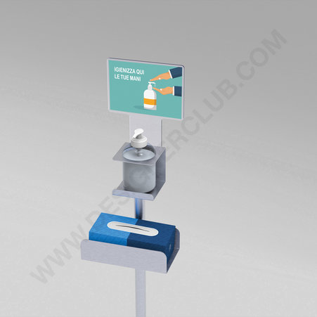 Message holder for floor stand with disposable gloves holder and sanitizer holder
